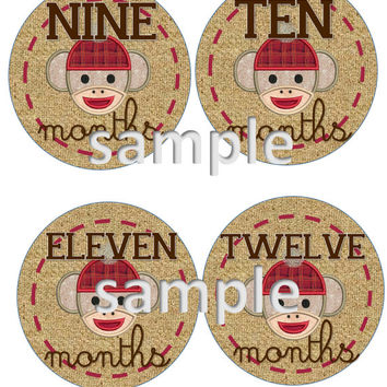 DIY INSTANT Download Printable Monthly Sock Monkey Baby Month Stickers Month to Month Age Stickers Sock Monkey and Burlap  Design