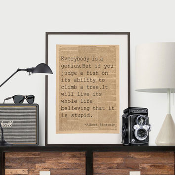 Albert Einstein Quote Science Poster Science Art Geek Posters Atheist Print Wall Art Scientist Poster Albert Einstein Print Art Typography