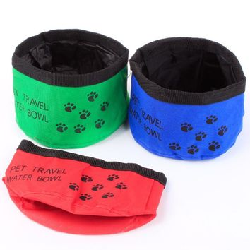 Travel Bowls Pet Dog Feeder Oxford Cloth Waterproof