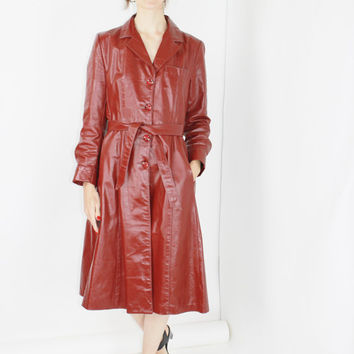 vtg 70s red leather trench coat burgundy midi coat duster coat long coat maroon coat petite coat swing coat boho coat medium med m