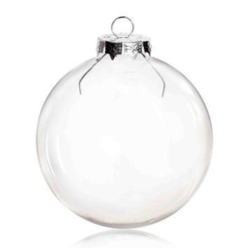 100 Pieces x DIY Paintable 3.15 Inch (80mm) Christmas Decoration Clear Glass Round Ornament/Ball With a Silver Cap