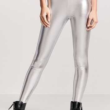Coated Metallic Leggings