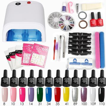 Nail Gel Soak-off 12 color Gel Top & Base Coat gel nail polish kit art tool manicure set for UV 36W or 24W LED or 6W Dryer Lamp