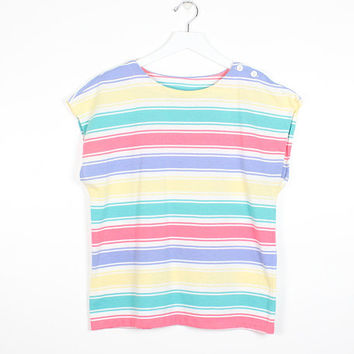 Vintage 1980s Tshirt Soft Rainbow Pastel Striped Cap Sleeve Button Shoulder 80s T Shirt Worn Camp Tee Summer Spring Hipster Top S Small M