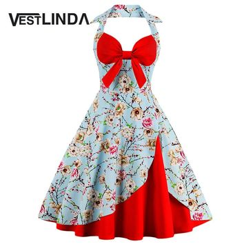 VESTLINDA Halter Neck Floral Print Pin Up Dress Vintage A-Line Sleeveless Bow Knee-Length Midi Dress Women 2017 Summer Vestidos