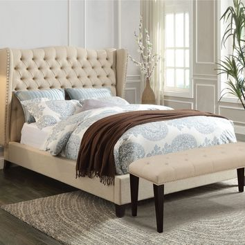 Faye collection beige linen fabric tufted padded headboard footboard and rails queen size wing back bed set