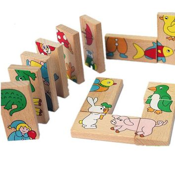 DCCKL72 Kid's Soft Montessori Wooden Puzzle Toy Set  15pcs Animal Domino Puzzle high quality gift for infant
