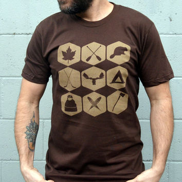 True North CANADIANA Tshirt - Parks Canada Inspired Hand Printed Tshirt // Brown - S,M,L,XL,XXL