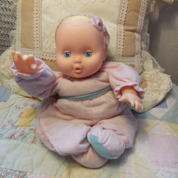 "1993 fisher price cloth and  vinyl 11"" baby girl doll / Pull legs and Plays music  Darling /Not included in Coupon Discount"