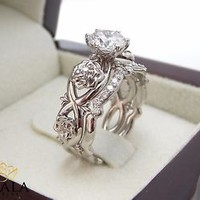 Floral Diamond Engagement Ring Diamond Wedding Band Bridal Set in 14k White Gold