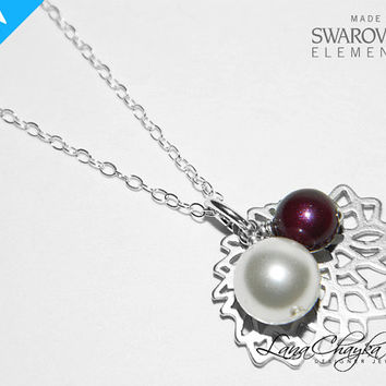 Sterling Silver Pearl Necklace, White Blackberry Pearl Necklace, Wedding Pearl Jewelry, Swarovski Pearl, White Purple Pearl Provence Pendant