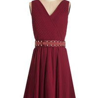 Long Sleeveless A-line Glitz and Grandeur Dress in Ruby