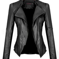 Black Faux Leather Collar Jacket