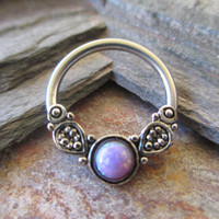 Septum Ring Tribal Purple Fire Opal CBR Hoop Cartilage Piercing