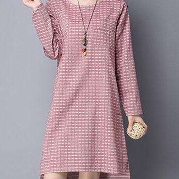 Streetstyle  Casual Round Neck Plaid Cotton/Linen Shift Dress