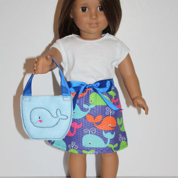 "18"" Doll Clothes, Whales Skirt and Blue Whale Doll Shoes and Tote Fit 18 inch dolls like American Girl"