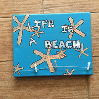 Handpainted / beach decor / beach picture frame / sayings / handmade / starfish art / life is a beach / starfish picture frame / beach art