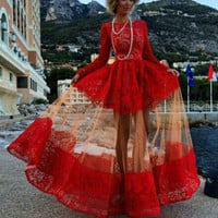 Unique Perspective Sleeved Red Lace Dresses