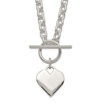 925 Sterling Silver Engraveable Heart Toggle Necklace 18 Inch
