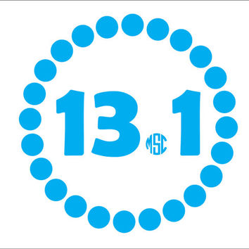 13.1 Half Marathon Decal With Monogram Sticker