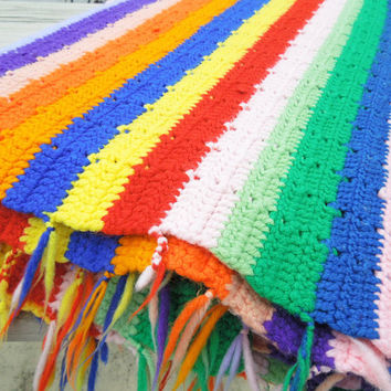 "Crochet blanket afghan throw - Colorful striped crochet blanket - Mother's Day gift - Red blue green yellow orange purple white 89"" x 57"""