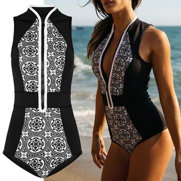 Black and White One Piece Vintage Zipper Modest Swimsuit Bathing Suit