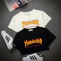 """THRASHER""  Magazine Flame Personality T-Shirt Print Short Sleeve Top"