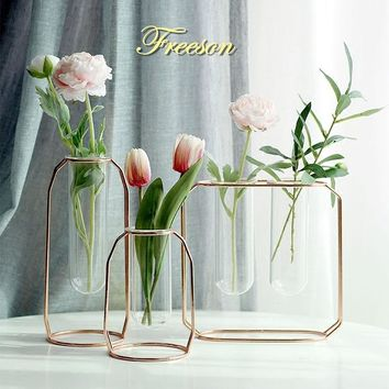 Nordic Glass Cuvette Vase Modern Gold Plated Iron Flower Vase Fashion Plant Vase Creative Terrarium Room Home Wedding Decoration