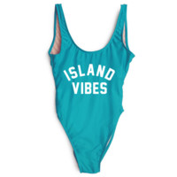 island vibe letters print pure color show thin one print bikini blue