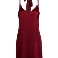 Red Plunge Choker Tie Satin Cami Strap Slip Dress