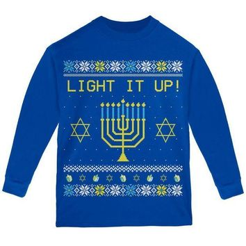 PEAPGQ9 Hanukkah Light It Up Ugly Christmas Sweater Youth Long Sleeve T Shirt