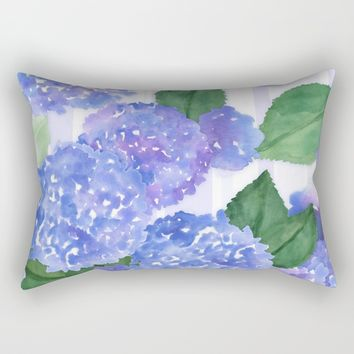 Hydrangeas and Stripes Rectangular Pillow by Noonday Design