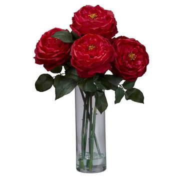 Silk Flowers -Red Fancy Rose With Cylinder Vase Flower Arrangement Artificial