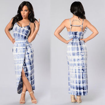 Plaid Dye Pattern Spaghetti Strap Backless Wrap Around Front Slit Maxi Dress