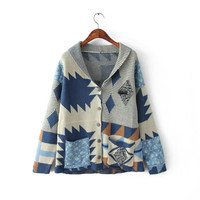 Printed Long Sleeve Cardigan Knitted Coat