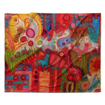 "Jeff Ferst ""Desert Under A Full Moon"" Red Pink Fleece Throw Blanket"