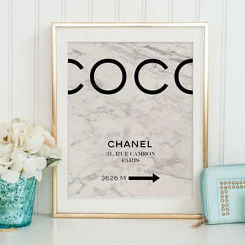 COCO CHANEL QUOTE, Marble Print, Marble Decor,Chanel Original Paris,Coco Chanel Print,Girls Room Decor,Typography Print,Fashion Illustration