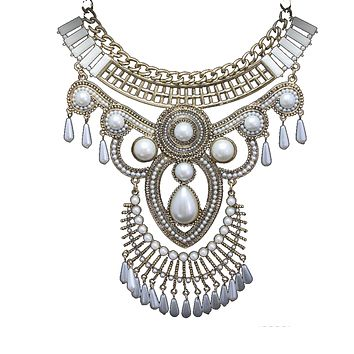 European Fashionable Exaggerated Crystal Cloth Decoration Necklace Korean Galvanized Short Clavicle Necklace Woman   white