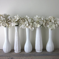 Set of Five Milk Glass Vases - Instant Collection
