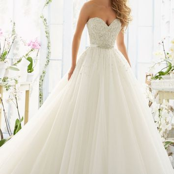 Mori Lee 2802 Strapless Beaded Tulle Ball Gown Wedding Dress