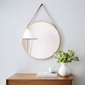Modern Hanging Mirror, Natural + Tan