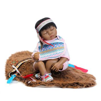 Hot Silicone Reborn Dolls Black Color Sleeping Doll Toys for Children,19 Inch Lifelike Baby Reborn Indian Doll