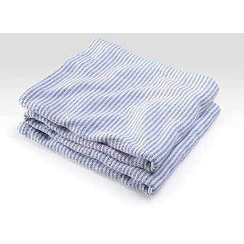 Ticking Stripe on White Cotton Blanket by Brahms Mount