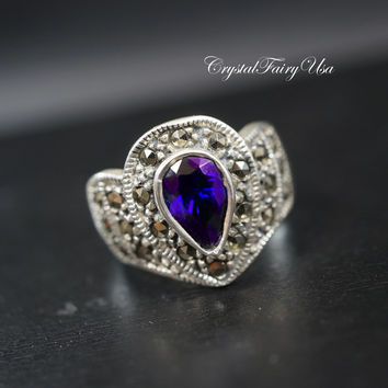 Genuine Amethyst Ring - Sterling Silver Ring -  Engagement Ring - Antique Fine Gemstone Ring - Size 8.5 Sterling Silver Diamond Ring