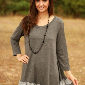 Very Soft Plus Charcoal Gray Tunic with Ruffle Hem