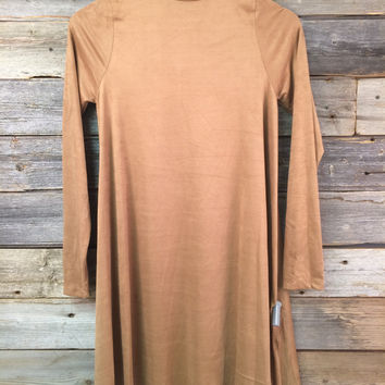 FAUX SUEDE SLEEVED SHIFT DRESS - CAMEL