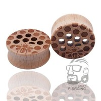 ac PEAPO2Q Body Piercing Jewelry Honey Comb Organic Wood Ear Plugs - Double Flared Saddle Earring Tunnels
