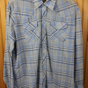 Blue Plaid Vintage Authentic Western Button Up Shirt / XL, (17 to 17.5) /  Pearl Buttons