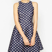 Blue Polkadot Sleeveless Zipper Back Dress