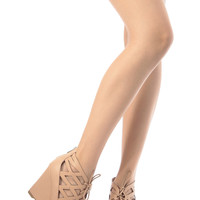 Nude Faux Leather Cut Out Lace Up Wedges